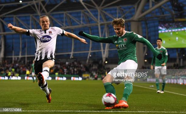 Dublin Ireland 4 November 2018 Kieran Sadlier of Cork City in action against John Mountney of Dundalk during the Irish Daily Mail FAI Cup Final match...