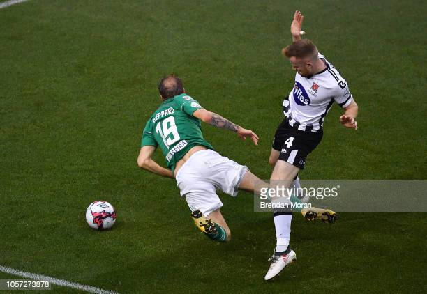 Dublin Ireland 4 November 2018 Sean Hoare of Dundalk fouls Karl Sheppard of Cork City resulting a penalty and a goal for Cork City during the Irish...
