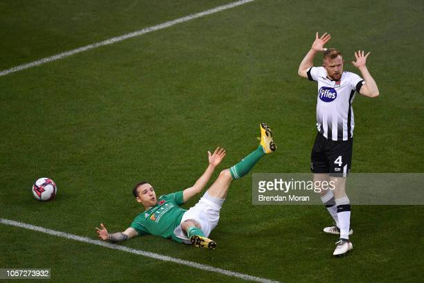 Dublin Ireland 4 November 2018 Sean Hoare of Dundalk reacts as referee Neil Doyle awards a penalty to Cork City after he was adjudged to foul Karl...