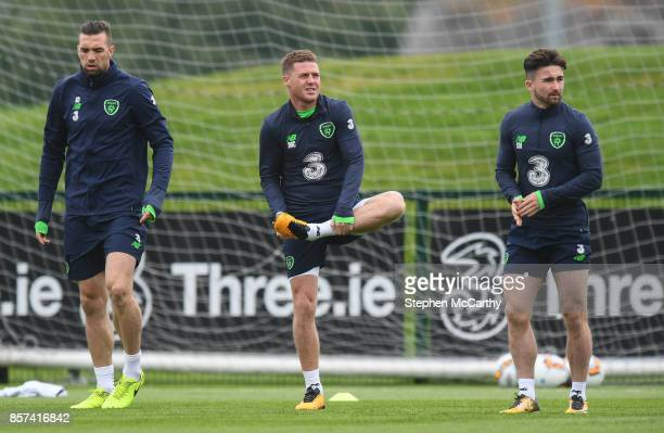 Dublin Ireland 4 October 2017 Republic of Ireland players from left Shane Duffy James McCarthy and Sean Maguire during squad training at the FAI...