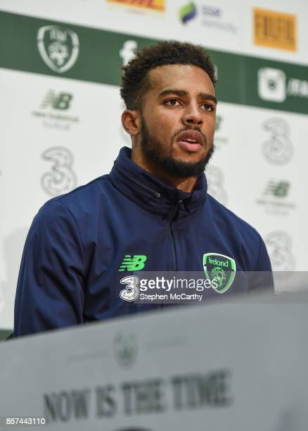 Dublin Ireland 4 October 2017 Republic of Ireland's Cyrus Christie during a press conference at the FAI National Training Centre in Abbotstown Dublin
