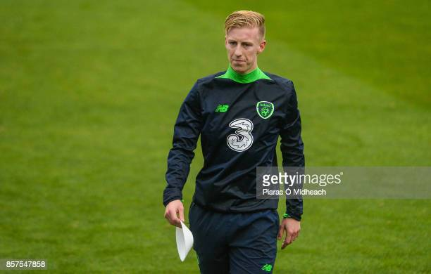 Dublin Ireland 4 October 2017 Republic of Ireland's Harry Charsley during squad training at Tallaght Stadium in Dublin