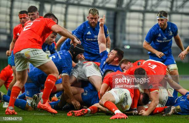 Dublin , Ireland - 4 September 2020; Cian Healy of Leinster celebrates after team-mate Rónan Kelleher scored their side's first try during the...
