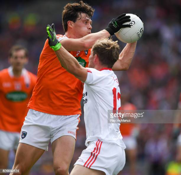 Dublin Ireland 5 August 2017 James Morgan of Armagh in action against Kieran McGeary of Tyrone during the GAA Football AllIreland Senior Championship...