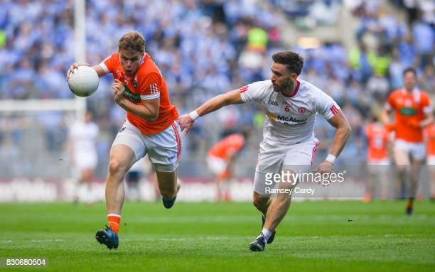 Dublin Ireland 5 August 2017 Oisin O'Neill of Armagh in action against Pádraig Hampsey of Tyrone during the GAA Football AllIreland Senior...