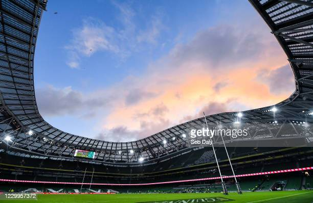 Dublin , Ireland - 5 December 2020; A general view of the pitch and stadium during the Autumn Nations Cup match between Ireland and Scotland at the...