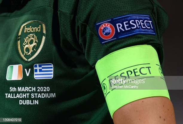 Dublin Ireland 5 March 2020 A detailed view of the Republic of Ireland crest and the match description on the jersey of Republic of Ireland captain...