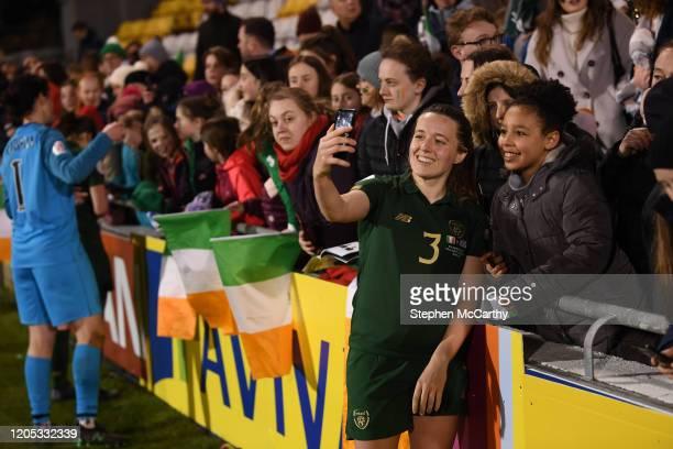 Dublin , Ireland - 5 March 2020; Harriet Scott of Republic of Ireland celebrates with fans following the UEFA Women's 2021 European Championships...