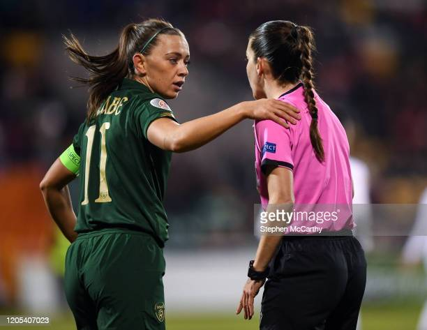 Dublin Ireland 5 March 2020 Katie McCabe of Republic of Ireland with referee María Dolores Martinez Madrona during the UEFA Women's 2021 European...