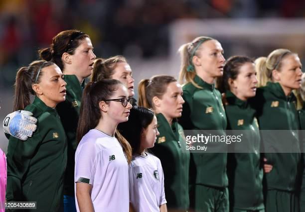 Dublin Ireland 5 March 2020 Republic of Ireland players from left Katie McCabe Marie Hourihan Heather Payne Harriet Scott Louise Quinn Niamh Fahey...