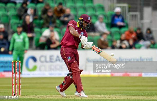 Dublin Ireland 5 May 2019 John Campbell of West Indies during the One Day International between Ireland and West Indies at Clontarf Cricket Club in...