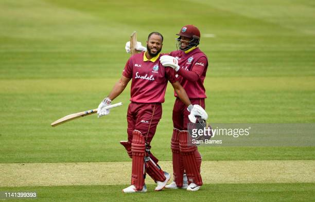 Dublin Ireland 5 May 2019 John Campbell of West Indies left celebrates with Shai Hope after scoring a century during the One Day International...