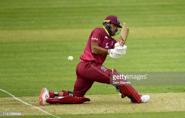 Dublin Ireland 5 May 2019 John Campbell of West Indies plays a shot during the One Day International between Ireland and West Indies at Clontarf...