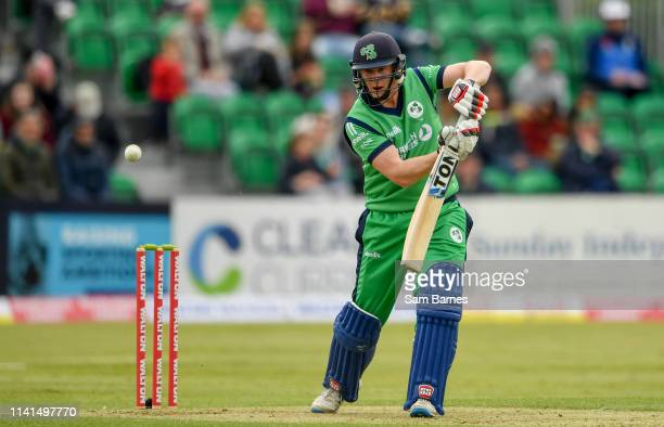 Dublin Ireland 5 May 2019 Kevin OBrien of Ireland plays a shot during the One Day International between Ireland and West Indies at Clontarf Cricket...
