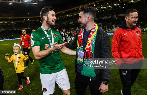 Dublin Ireland 5 November 2017 Cork City's Gearóid Morrissey in conversation with Former Cork City player Sean Maguire following the Irish Daily Mail...