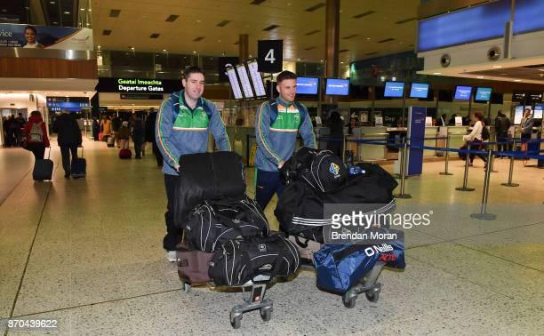 Dublin Ireland 5 November 2017 Eoin Cadogan right of Ireland and team selector Darragh O Sé in Dublin prior to departure for Melbourne ahead of the...