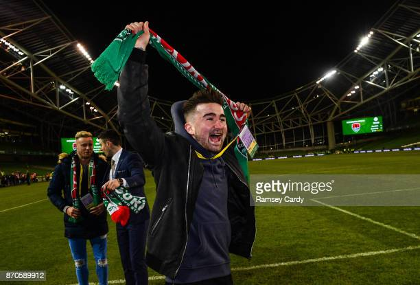 Dublin Ireland 5 November 2017 Former Cork City player Sean Maguire celebrates following the Irish Daily Mail FAI Senior Cup Final match between Cork...