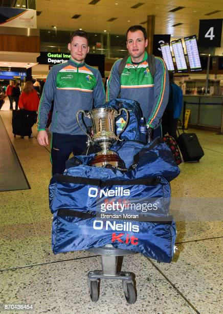 Dublin Ireland 5 November 2017 Ireland vice captain Conor McManus left and teammate Michael Murphy with the Cormac McAnallen Cup at Dublin Airport in...