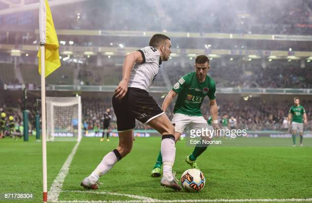 Dublin Ireland 5 November 2017 Michael Duffy of Dundalk in action against Steven Beattie of Cork City during the Irish Daily Mail FAI Senior Cup...