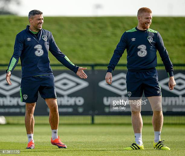 Dublin Ireland 5 October 2016 Jonathan Walters left and Paul McShane right of Republic of Ireland during squad training at the FAI National Training...