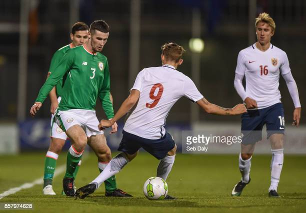 Dublin Ireland 5 October 2017 Corey Whelan of Republic of Ireland in action against Birk Risa of Norway during the UEFA European U21 Championship...