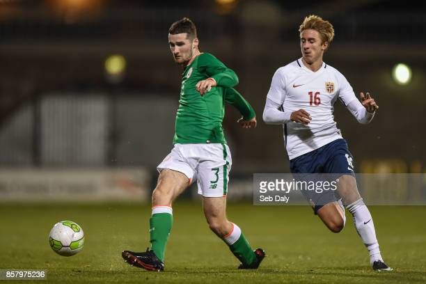 Dublin Ireland 5 October 2017 Corey Whelan of Republic of Ireland in action against Dennis Tørset Johnsen of Norway during the UEFA European U21...