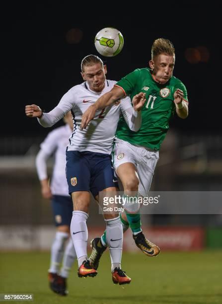 Dublin Ireland 5 October 2017 Ronan Curtis of Republic of Ireland in action against Julian Ryerson of Norway during the UEFA European U21...