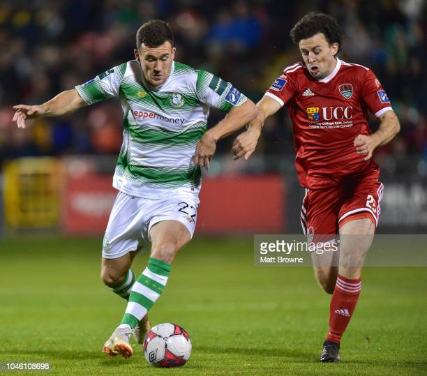 Dublin Ireland 5 October 2018 Aaron Greene of Shamrock Rovers in action against Barry McNamee of Cork City during the SSE Airtricity League Premier...