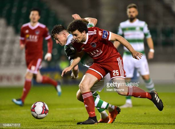 Dublin Ireland 5 October 2018 Barry McNamee of Cork City in action Ronan Finn of Shamrock Rovers during the SSE Airtricity League Premier Division...