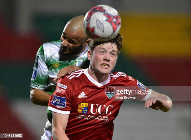 Dublin Ireland 5 October 2018 Cian Murphy of Cork City in action against Ethan Boyle of Shamrock Rovers during the SSE Airtricity League Premier...