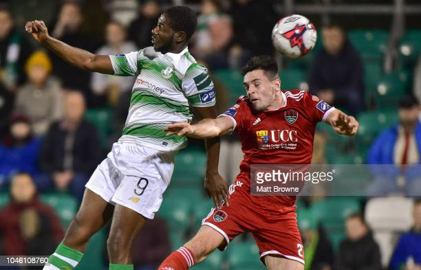 Dublin Ireland 5 October 2018 Dan Carr of Shamrock Rovers in action against Pierce Phillips of Cork City during the SSE Airtricity League Premier...