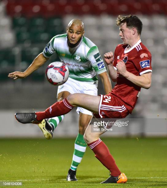 Dublin Ireland 5 October 2018 Ethan Boyle of Shamrock Rovers in action against Cian Murphy of Cork City during the SSE Airtricity League Premier...