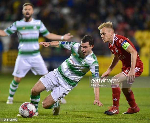 Dublin Ireland 5 October 2018 Joel Coustrain of Shamrock Rovers in action against Conor McCormack of Cork City during the SSE Airtricity League...