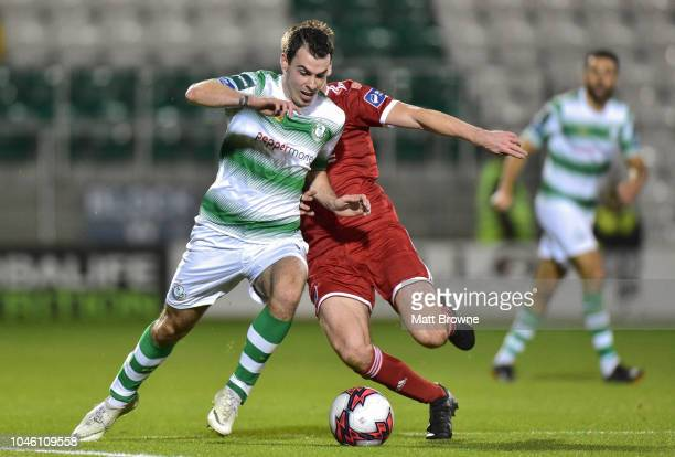 Dublin Ireland 5 October 2018 Joel Coustrain of Shamrock Rovers in action against Ronan Hurley of Cork City during the SSE Airtricity League Premier...