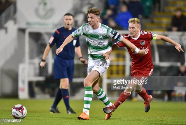Dublin Ireland 5 October 2018 Ronan Finn of Shamrock Rovers in action against Conor McCormack of Cork City during the SSE Airtricity League Premier...