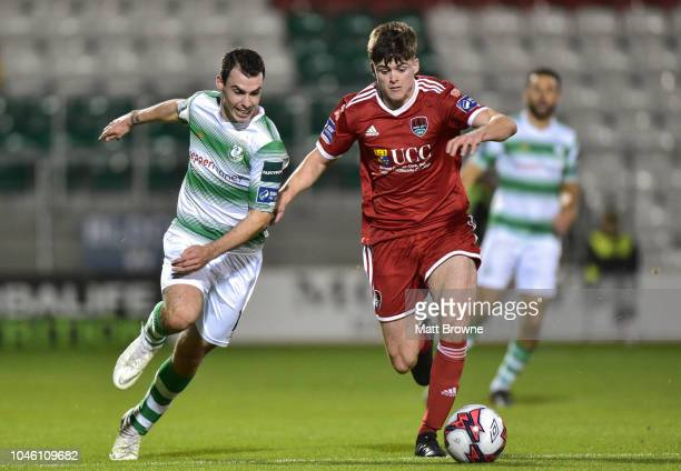 Dublin Ireland 5 October 2018 Ronan Hurley of Cork City in action against Joel Coustrain of Shamrock Rovers during the SSE Airtricity League Premier...