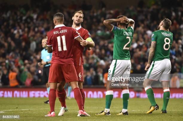 Dublin Ireland 5 September 2017 Aleksandar Kolarov left and Branislav Ivanovi of Serbia celebrate after the FIFA World Cup Qualifier Group D match...