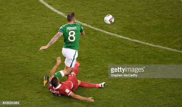 Dublin Ireland 5 September 2017 Daryl Murphy of Republic of Ireland is fouled by Nikola Maksimovi of Serbia resulting in a red card for red card for...