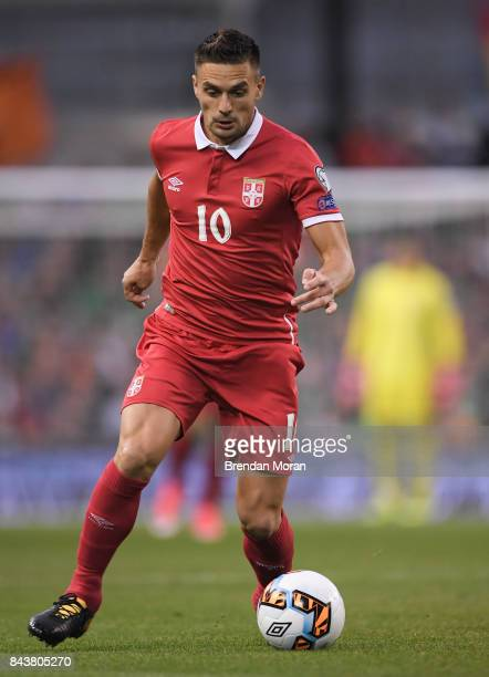 Dublin Ireland 5 September 2017 Duan Tadi of Serbia during the FIFA World Cup Qualifier Group D match between Republic of Ireland and Serbia at the...