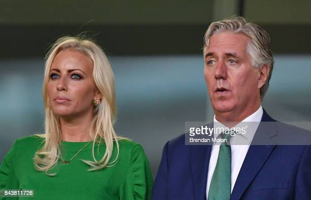 Dublin Ireland 5 September 2017 FAI Chief Executive John Delaney with his partner Emma English prior to the FIFA World Cup Qualifier Group D match...