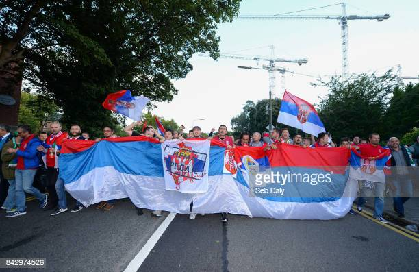 Dublin Ireland 5 September 2017 Serbia supporters prior to the FIFA World Cup Qualifier Group D match between Republic of Ireland and Serbia at the...