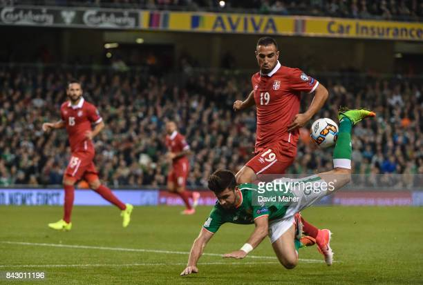 Dublin Ireland 5 September 2017 Shane Long of Republic of Ireland in action against Nikola Maksimovi of Serbia during the FIFA World Cup Qualifier...