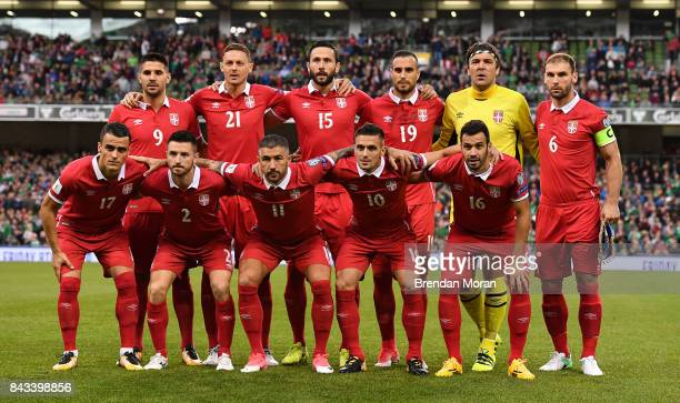 Dublin , Ireland - 5 September 2017; The Serbia team prior to the FIFA World Cup Qualifier Group D match between Republic of Ireland and Serbia at...