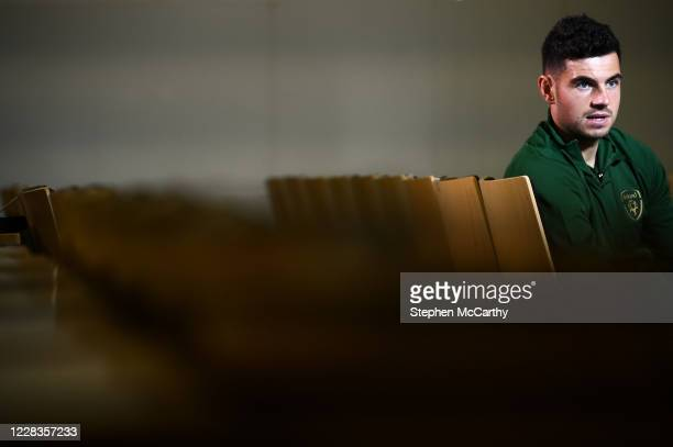 Dublin Ireland 5 September 2020 John Egan during an interview with Sky Sports following a Republic of Ireland press conference at the FAI...