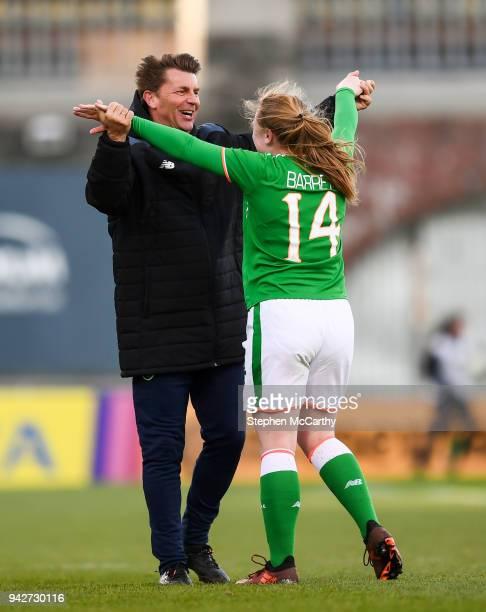 Dublin Ireland 6 April 2018 Republic of Ireland head coach Colin Bell celebrates with winning goal scorer Amber Barrett following the 2019 FIFA...