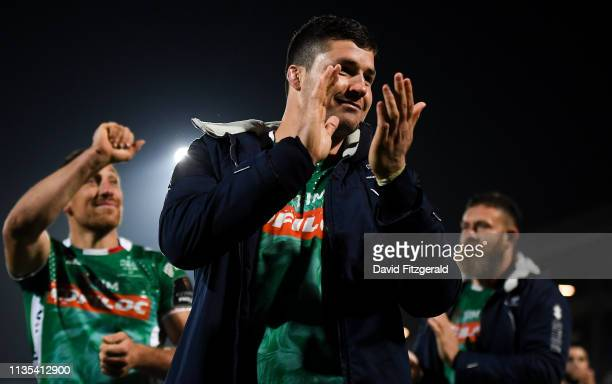 Dublin Ireland 6 April 2019 Sebastian Negri da Ollegio of Benetton celebrates following the Guinness PRO14 Round 19 match between Leinster and...