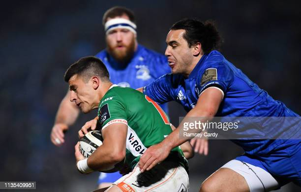Dublin Ireland 6 April 2019 Tommaso Allan of Benetton is tackled by James Lowe of Leinster during the Guinness PRO14 Round 19 match between Leinster...