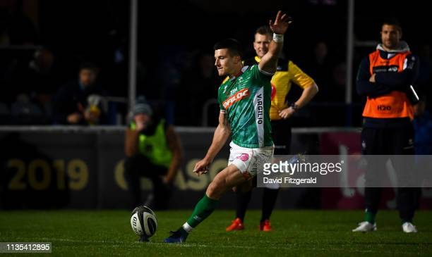 Dublin Ireland 6 April 2019 Tommaso Allan of Benetton kicks a conversion to draw the game during the Guinness PRO14 Round 19 match between Leinster...