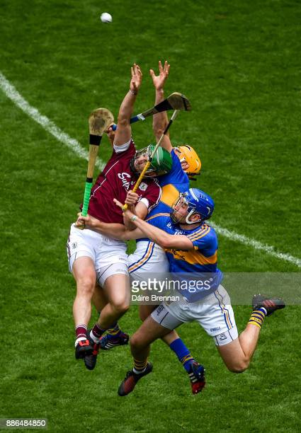 Dublin Ireland 6 August 2017 Adrian Tuohy of Galway in action against Séamus Callanan left and John McGrath of Tipperary during the GAA Hurling...