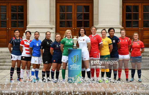 Dublin Ireland 6 August 2017 In attendance as an Taoiseach Leo Varadkar TD meets the captains of each of the 12 competing teams in the Women's Rugby...